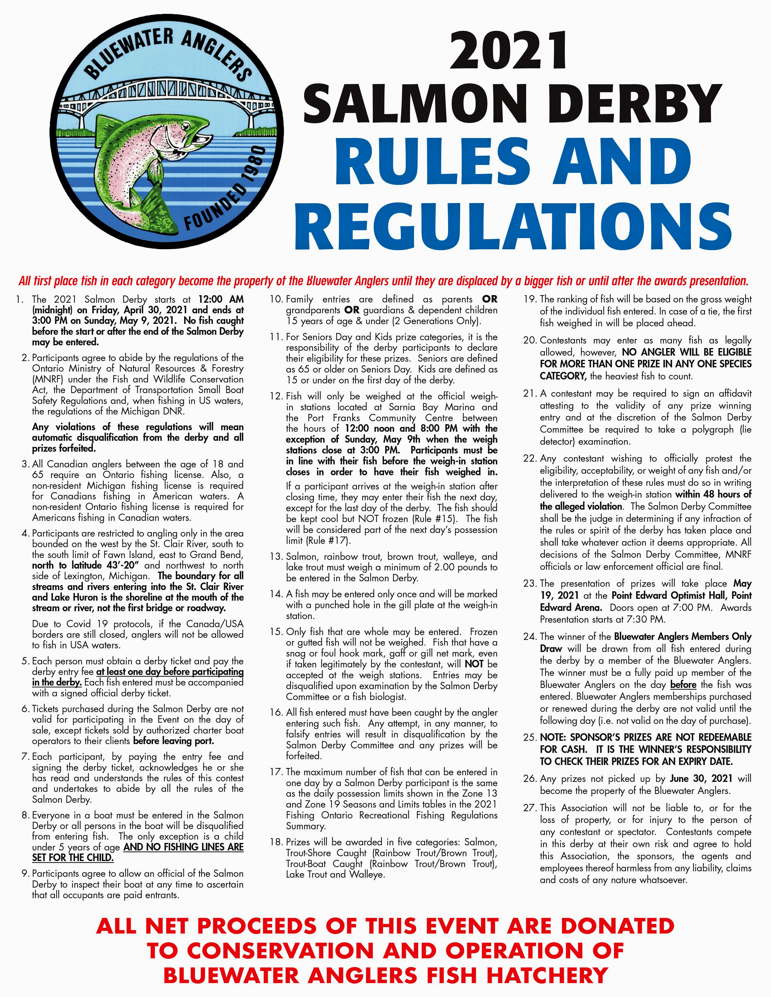 2021 Bluewater Anglers Salmon Derby Rules